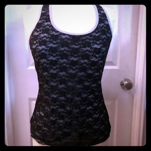 Black & Grey Lace Front Racerback Tank